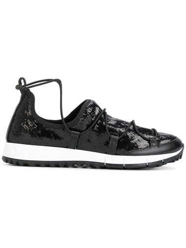 Jimmy Choo Andrea Sneakers Calf Leather Pvc Rubber Black CqUyg4wO