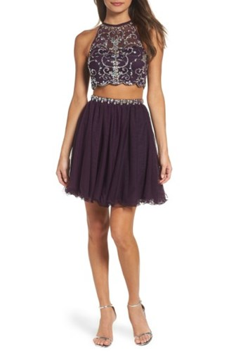 Blondie Nites Women's Embellished Two Piece Fit And Flare Dress Plum Stone Omchli91X