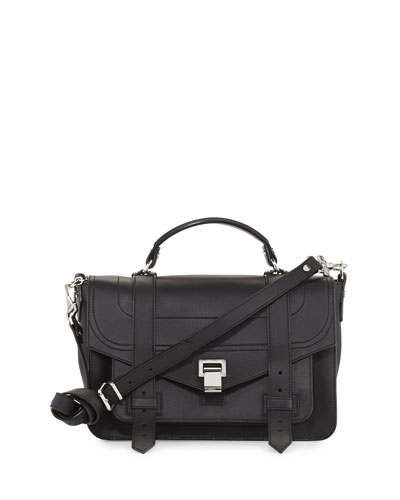 Proenza Schouler Ps1 Medium Leather Satchel Bag Black 05jyxdI06