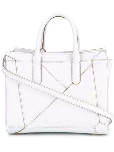 Folded Detail Tote Women Calf Leather Cotton One Size White