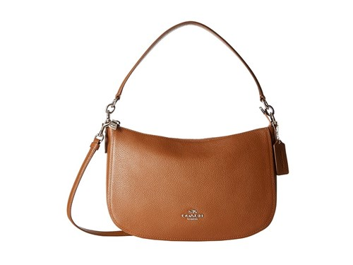 Coach Pebble Chelsea Crossbody Sv Saddle Cross Body Handbags Brown ZVZcBdRS