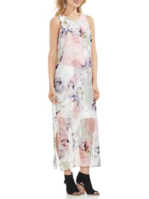 Vince Camuto Petite Sleeveless Diffused Maxi Overlay Dress New Ivory Qkrmk