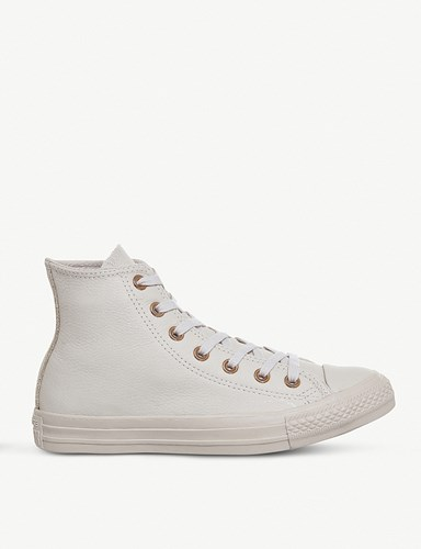 Converse All Star Leather High Top Trainers Sand Dollar Gold XyBdmDSsBF