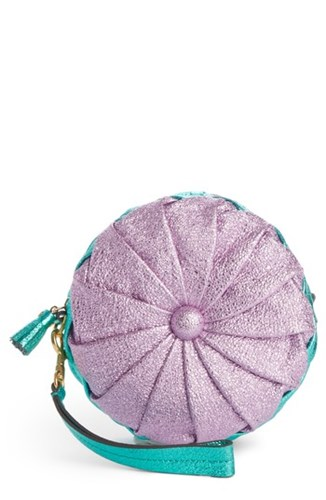 Anya Hindmarch Circle Pillow Metallic Leather Clutch Pink Iris NeBIDT