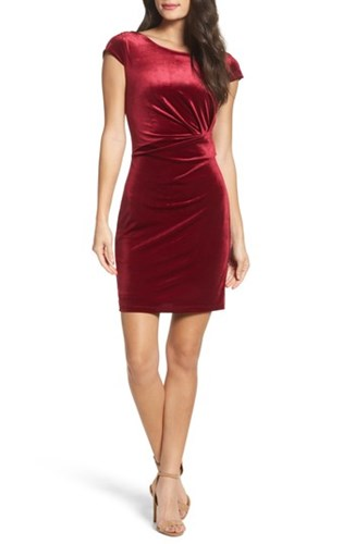 Fraiche by J 'S Pleat Side Velvet Dress Wine esBDmh