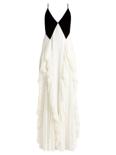 Black Crepe Velvet Gown Pleated And White Givenchy OwqF0CHRw