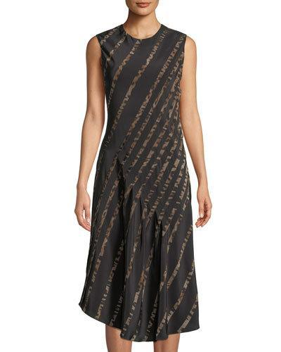Roberto Cavalli Animal Print Striped Silk A Line Dress Black H06t5a