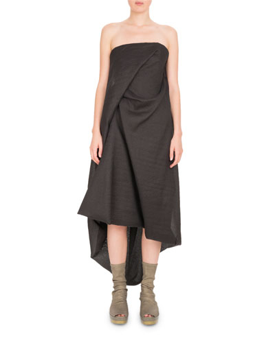 Rick Owens Strapless Draped Midi Dress Black Sav0pn6