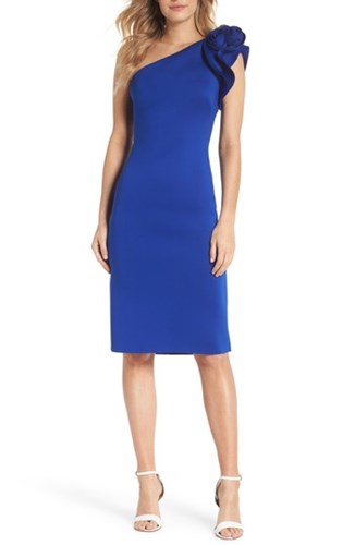 Eliza J One Shoulder Sheath Dress Cobalt b1KrvtTw