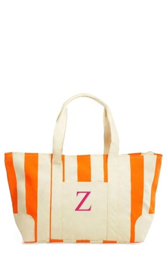Cathy's Concepts Monogram Stripe Canvas Tote Orange JMrACZWYA1