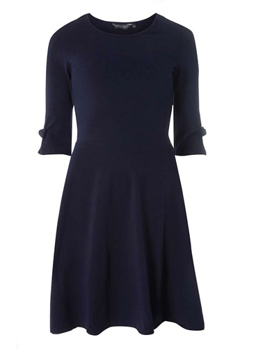 Dorothy Perkins Tall Navy Bow Sleeve Skater Dress Blue cX7mJiSSgp