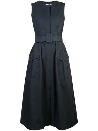 Oscar de la Renta Flared Belted Dress Black eR9dlKJNV