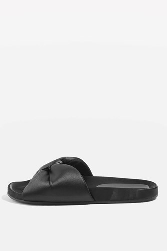 Bow Sliders Heart Black Topshop Heart Bow Topshop Sliders Black xxrREw4H