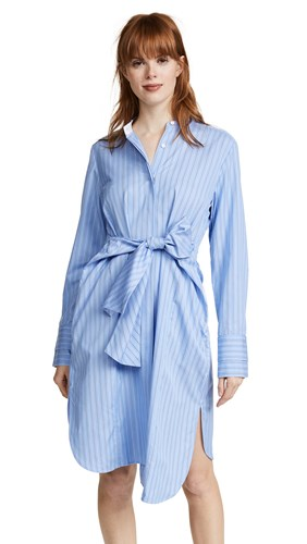Edition10 Striped Stand Collared Shirtdress Black White Blue ex9tkR