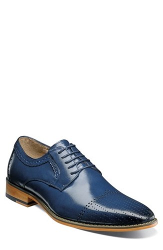 Stacy Adams Sanborn Perforated Cap Toe Derby Blue Leather 9nZOu