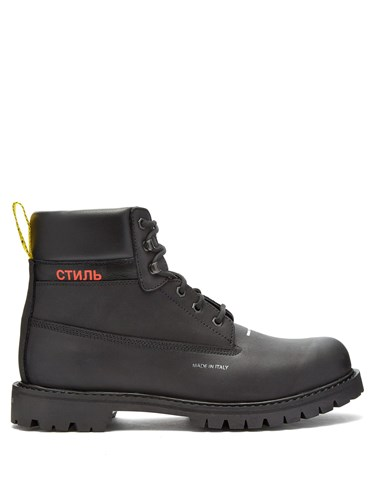 Heron Preston Logo Stamped Lace Up Leather Boots Black zFyix