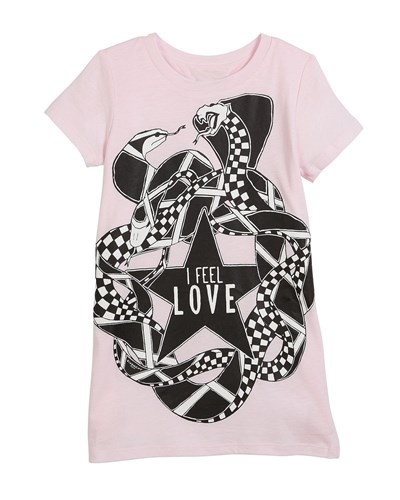 Givenchy I Feel Love Snakes Jersey Shirt Dress Pink TeImNSru