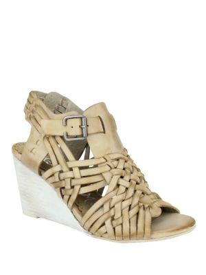 Naughty Monkey Dually Noted Leather Wedge Sandals Tan xwU8f9QgA