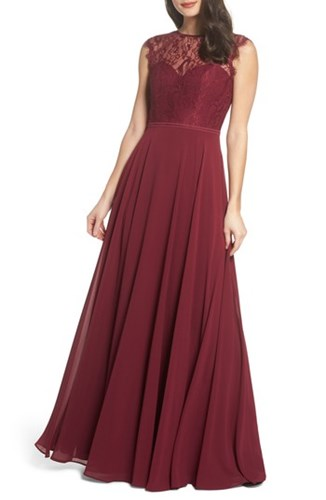 Hayley Paige Occasions 'S Lace And Chiffon Gown Burgundy fsq8XAiwmn