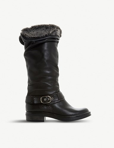 Dune Torie Ruched Leather Knee High Boots Black Leather JtVRn8hoe
