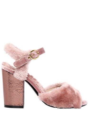 Strategia 90Mm Faux Fur And Metallic Leather Sandals Pink 16nVPzF