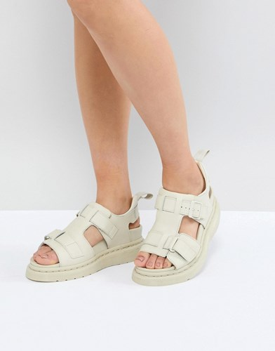 Dr. Martens Dr Kimilah White Leather Flat Sandals Bone Hydro Leather QauhIMY6