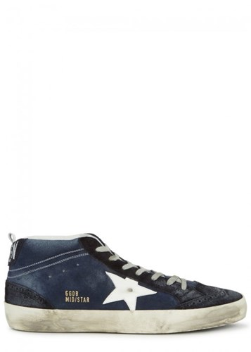 Golden Goose Deluxe Brand Midstar Navy Brushed Suede Trainers 6Ol03Mq41E