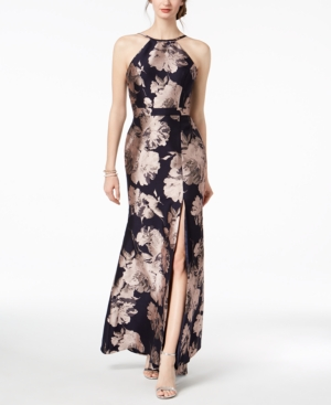 Xscape Evenings Jacquard Halter Gown Navy Blush QuVkBQ