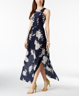 Vince Camuto Floral Print Maxi Dress Navy Multi 0G5qiuW