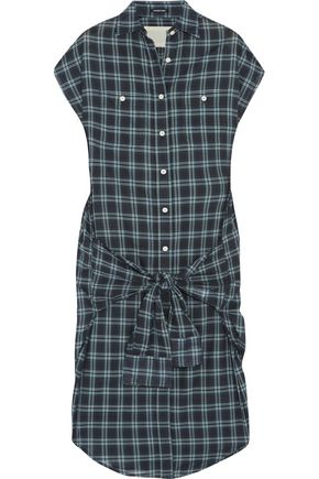 R 13 Knotted Front Wrap Checked Cotton Dress Dark Green aAFhOriv