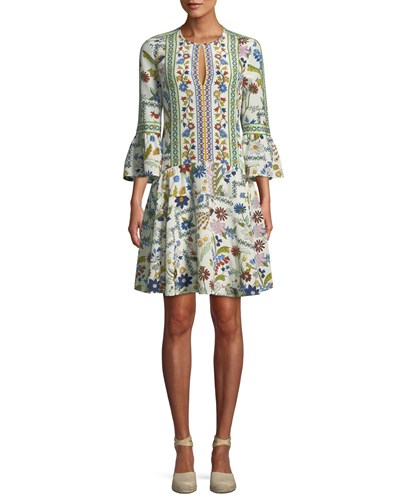 Tory Burch Daphne Meadow Floral Silk Dress Ivory Meadow Foll 3Wwp6M