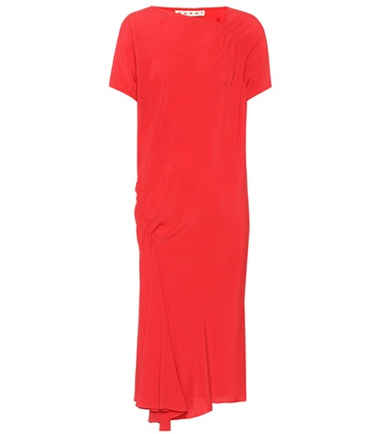 Red Midi Midi Crepe Marni Dress Dress Marni Crepe Red EwBx8Pq