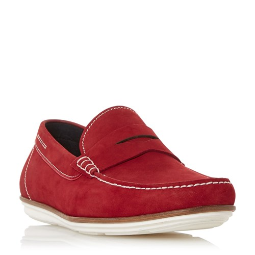 Dune Ballon Contrst Sole Loafer Shoes Red vmpx1YgV