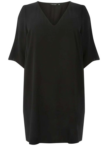 Dorothy Perkins Curve Plus Size Black V Neck Shift Dress a9kCzmj