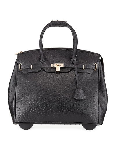 KC Jagger Kendall Ostrich Embossed Faux Leather Rolling Bag Black pYS4eYqy
