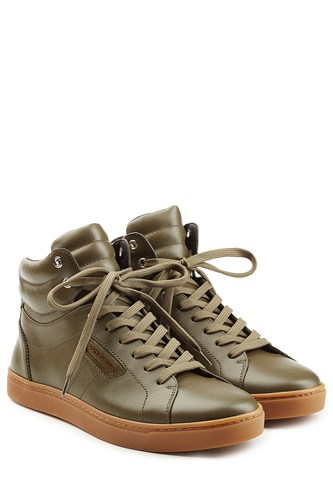 Dolce & Gabbana Leather High Top Sneakers Green tvLGdN