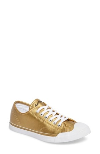 Converse Women's Jack Purcell Low Top Sneaker Gold Leather 2vNu1wT