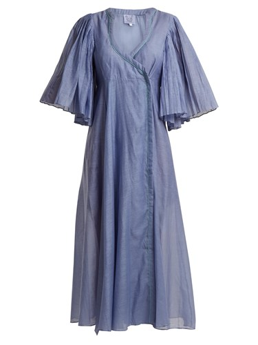 Thierry Colson Sultane Cotton And Silk Blend Wrap Dress Blue nVQT3