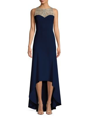 Adrianna Papell Beaded Crepe Gown Navy CJOQM9P
