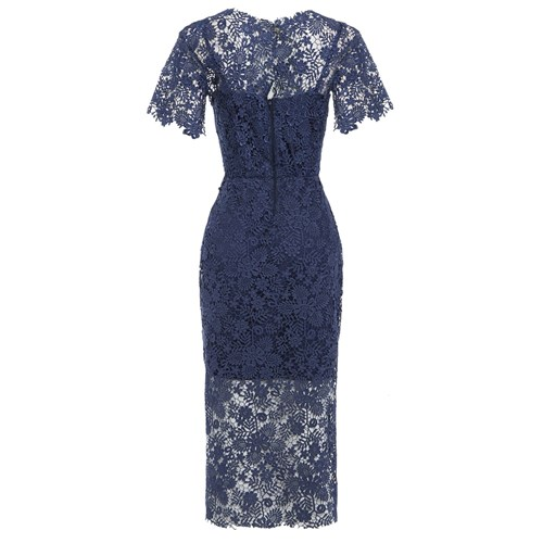 Sarvin Hannah Guipure Lace Midi Dress Blue E4mgP