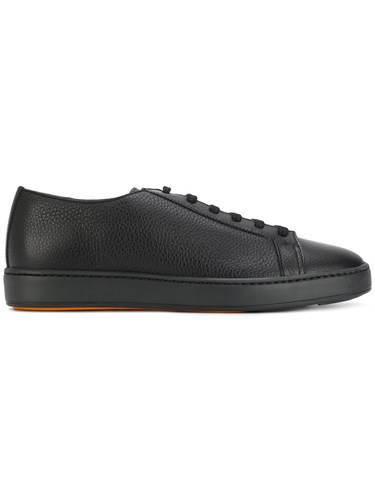 Santoni Textured Lace Up Sneakers Calf Leather Leather Rubber 43.5 Black 8nuqp