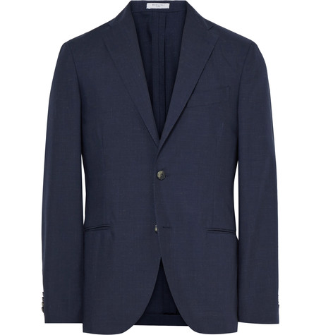 Blue K Jacket Slim Fit Wool And Mohair Blend Blazer Navy