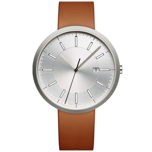M40 Calendar Wristwatch Brushed Steel And Tan Leather