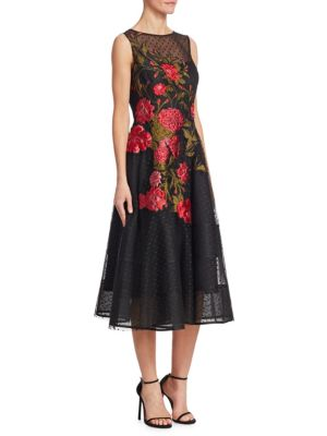 Black Floral Freeman Rickie Red Applique Teri Jon Flare Dress And For Fit I7qfxvwSq