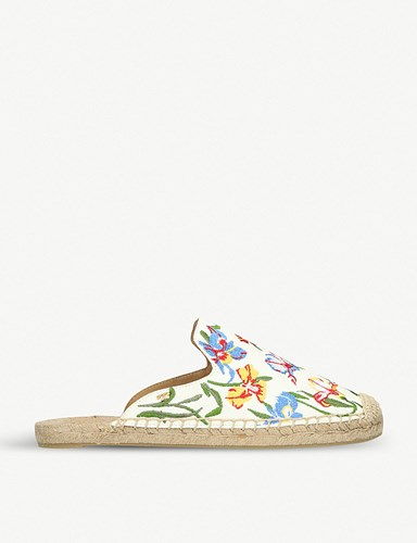 Floral Bianca Embroidered Espadrille Burch Tory Navy Sliders White q57wExtT