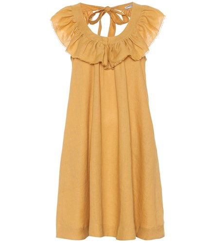 Three Graces London Faye Linen Minidress Yellow G3uI3jX