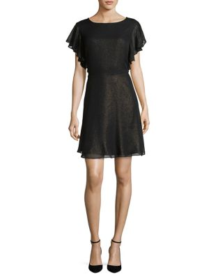 Dress Flounce And Flare Halston Black H Back Fit x5Bn1qYpF