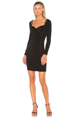 Alexander Wang Sweetheart Long Sleeve Fitted Dress Black gjqgFA19go