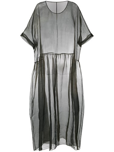 Uma Wang Flared Sheer Dress Grey iXO9QPOzN