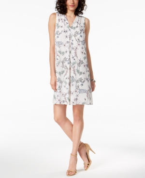 Vince Camuto Printed Shift Dress A Macy's Exclusive Style New Ivory J5N62l